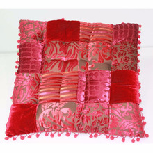 Hot sales patchwork with pompom square burnout velvet seat cushion chair pad wholesale customize seat cushion chair pad