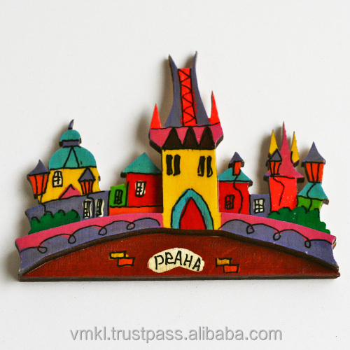 Prague houses magnet fridge, magnet souvenir with any city, handpainted world city fridge magnets, GH2-15