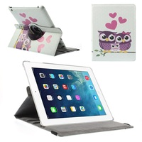 360 Degree Rotary Stand Smart Leather Cover for iPad 2 3 4 - Love Hearts Owl Family