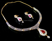 Wholesale Fashion Jewellery-Indian Handmade Jewellery-American Diamond Necklace Set-CZ party wear Delicate Necklace Set