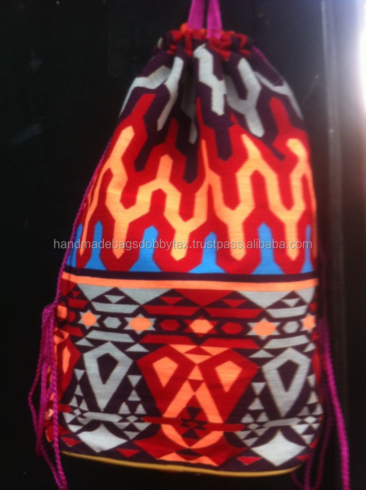 Red Black Drawstring Backpack neon canvas bag