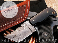 Hunting Knife, Custom Handmade Damascus Steel Fixed Blade Knife YV-504 Buffalo Horn Handle & Damascus Steel Tanto Blade