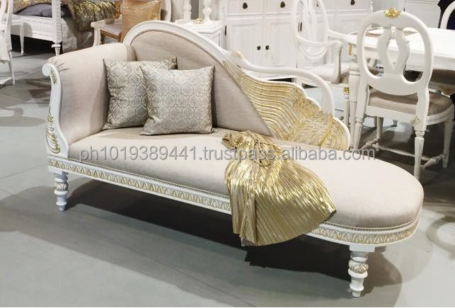 Swan carved wooden daybed