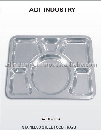 Student food tray lunch box food container whole sale stainless steel four compartment tray with cover