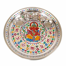"GANESHA DESIGNED STAINLESS STEEL MEENAKARI DECORATIVE PLATE/ PUJA THALI-SILVER MEENA WITH 5 TUMBLERS (11"" x 11"" x 0.75"" INCHES)"