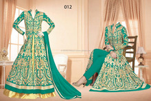 Green Colored Georgette Embroidered Party Ware Semi-Stitched Salwar Suit
