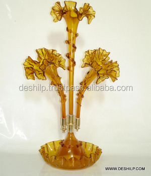 GLASS EPERGNE,COLOR GOLD ANTIQUE EPERGNE, GLASS FLOWER EPERGNE