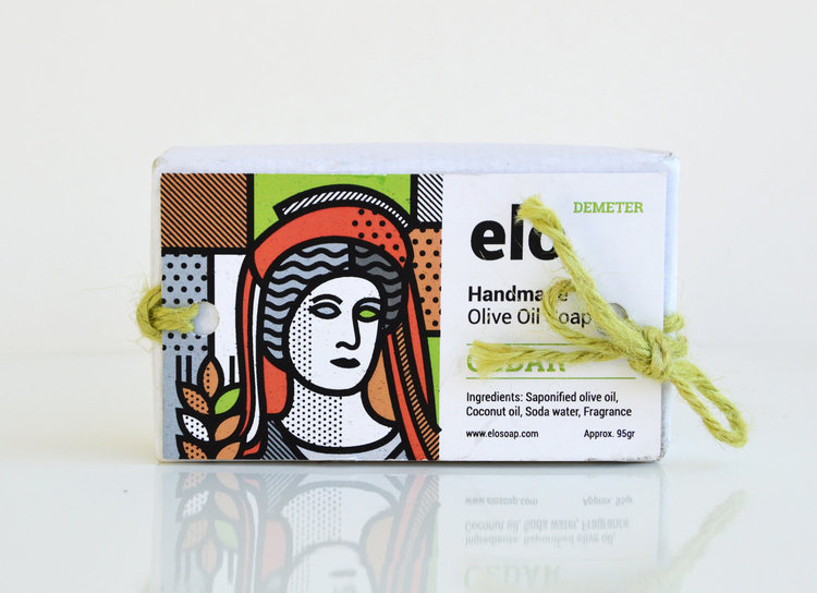 Elosoap - Gift olive oil soap (souvenir with greek godess Demeter) 95g