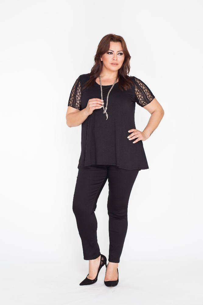 Top Quality Wholesale Plus Size Black Tunic with Lace Short Sleeve