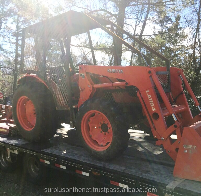 2016 Kubota 7060 4WD tractor w/ LA1154 front loader AND Brown Tree Cutter