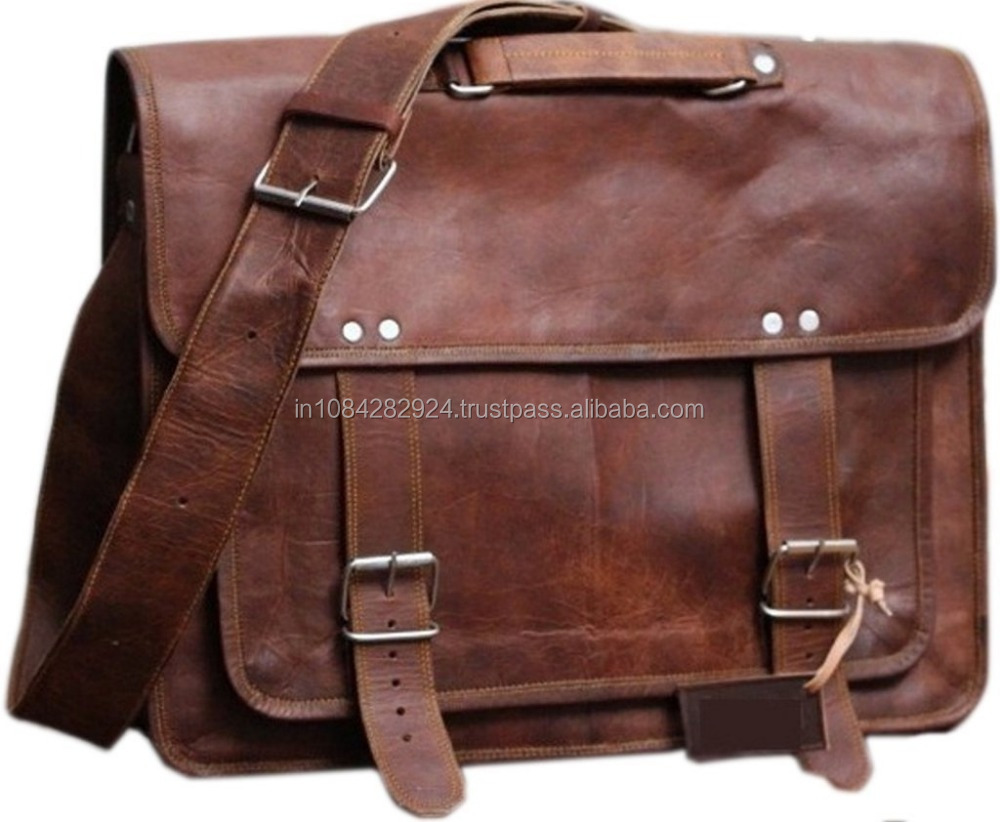 "18"" Vintage Handmade Leather Messenger Bag for Laptop Briefcase Made In India."