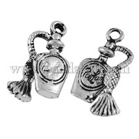 Tibetan Style Liquor Bottle Pendants, Antique Silver, Lead Free & Nickel Free; 20x10x4mm, Hole: 2mm