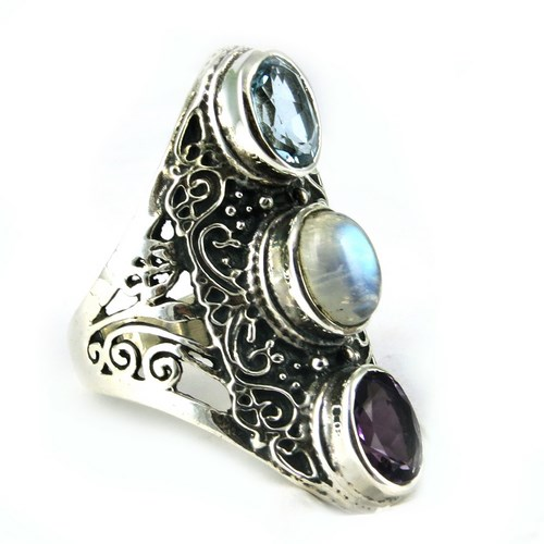 Multi Color Radiance Amethyst_Rainbow Moonstone_Blue Topaz 925 Sterling Silver Ring, Gemstone Silver Jewellery, Silver Jewelry