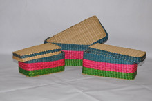multi color round cheap and nice seagrass box with lid
