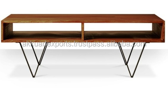 ROSEWOOD INDUSTRIAL STYLE HOT COFFEE TABLE WITH HAIR PIN LEGS TWO SELVES COFFEE TABLE