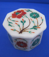 Floral Trio Fair Trade Marble Inlay Jewelry Box ~ Indian Marble Inlay Box, Inlay Box, Marble Inlay Jewellery Box