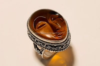 New yellow face gemstone 925 sterling silver vintage ring