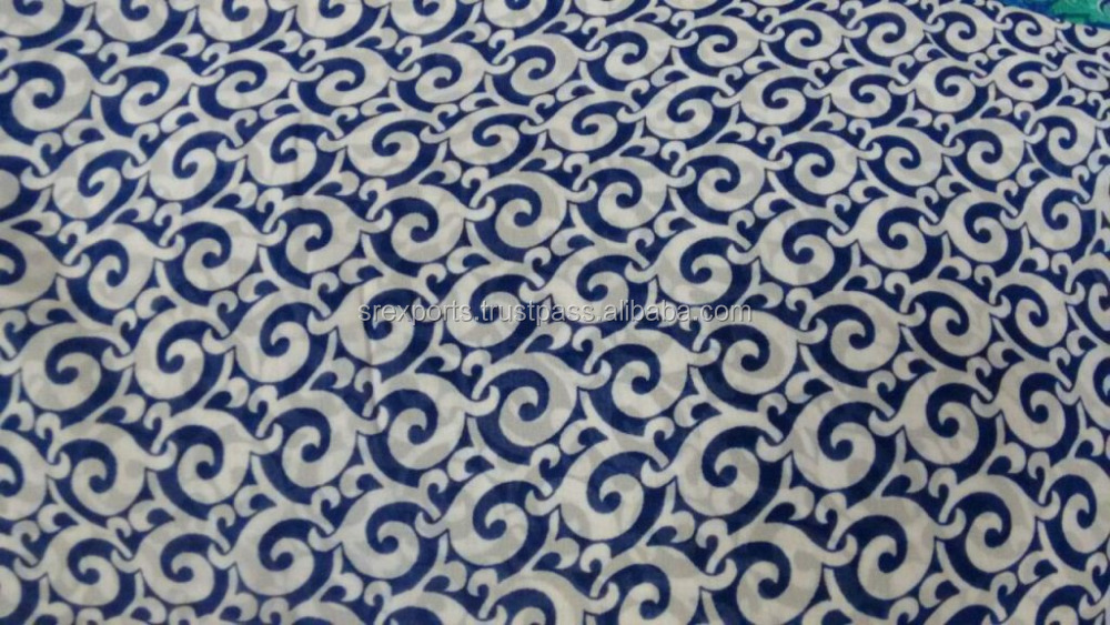Indian Handmade Natural Chiffon Print Fabric