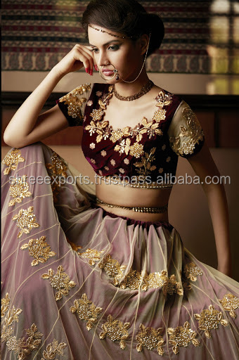 Cream and Maroon Patch Border Work Georgette Lehenga Saree