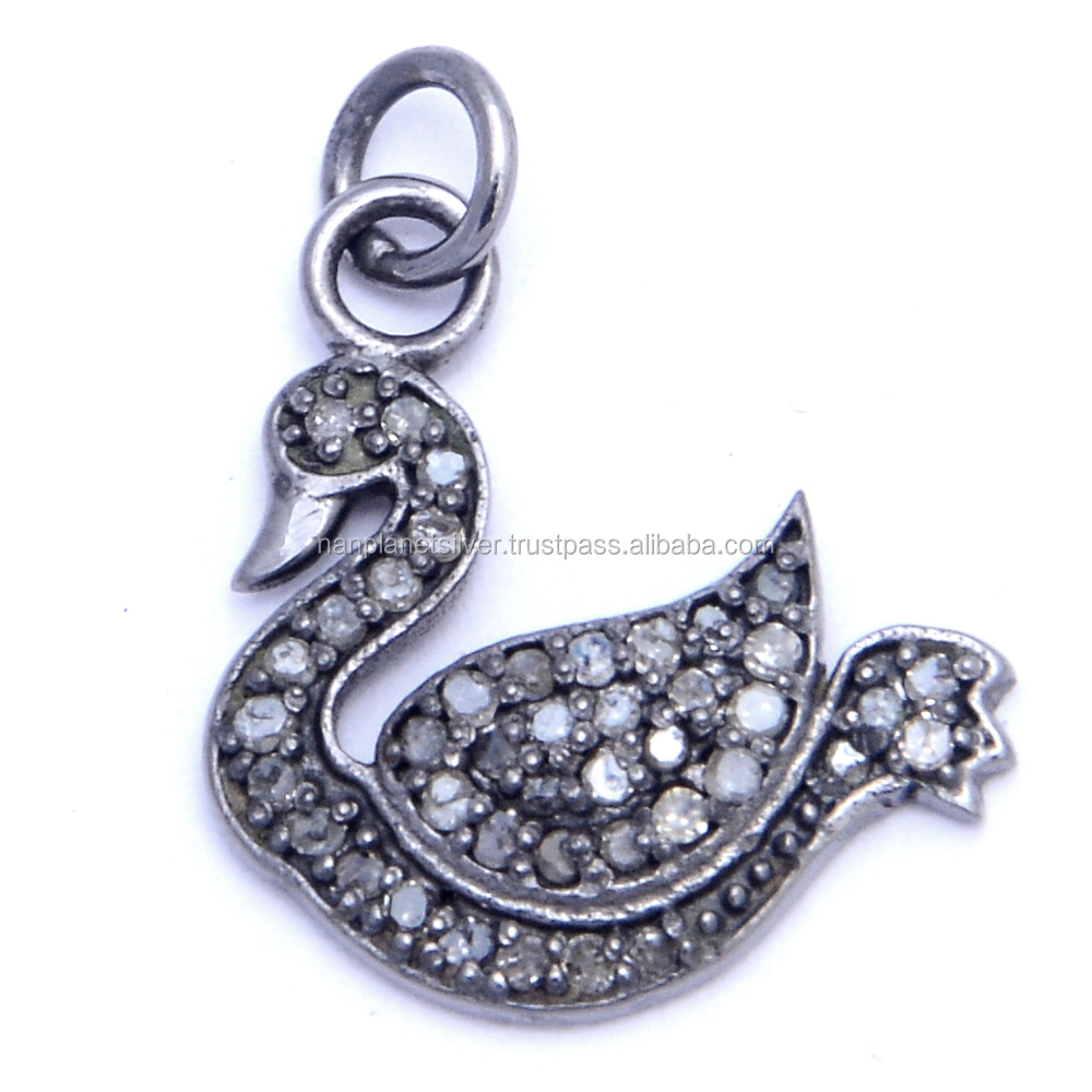 Pave Diamond Duck Charm Pendant