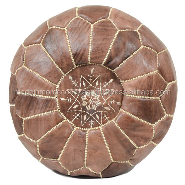 Fabulous Genuine Leather Handmade Brown Poufs