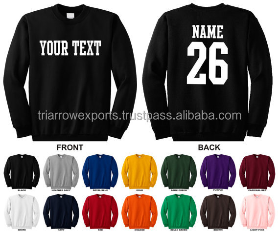 Personalized custom name and number crewneck sweatshirt, you choose the text for the front and back, STRAIGHT TEXT