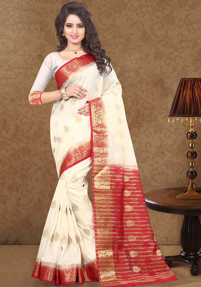 White art silk designer saree