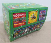 BEAUTIFUL COLOR HANDMADE WOODEN BOX CONTAN WITH THREE CHEST AND ONE DRAWER RANGOLI DESIGN FOR HOME DECOR AND GIFT SIB-19B