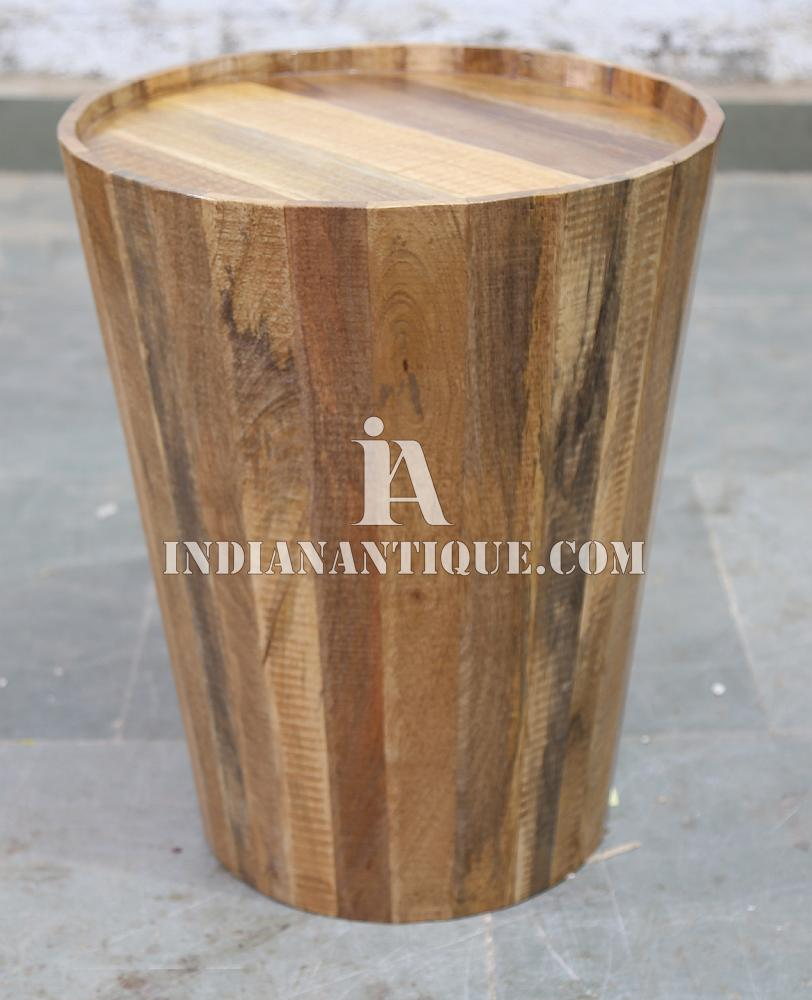 UNIQUE INDIAN MANGO WOOD TAPER STYLE END TABLE IA-ASR-08 SOLID WOODEN INDIAN FURNITURE - JODHPUR