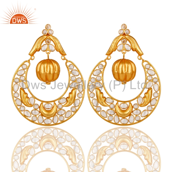 New Arrival Gold Plate 925 Silver Polki Earrings CZ Gemstone Designer Earrings Manufacturers of Indian Traditional Jewelry