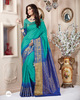 Teal Colour Silk Fabric Patch Work Sarees At Wholesale Rates