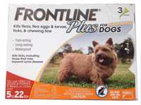 Frontline Plus Flea and Tick Control for 5-22 Pound Dogs and Puppies, 3-dose