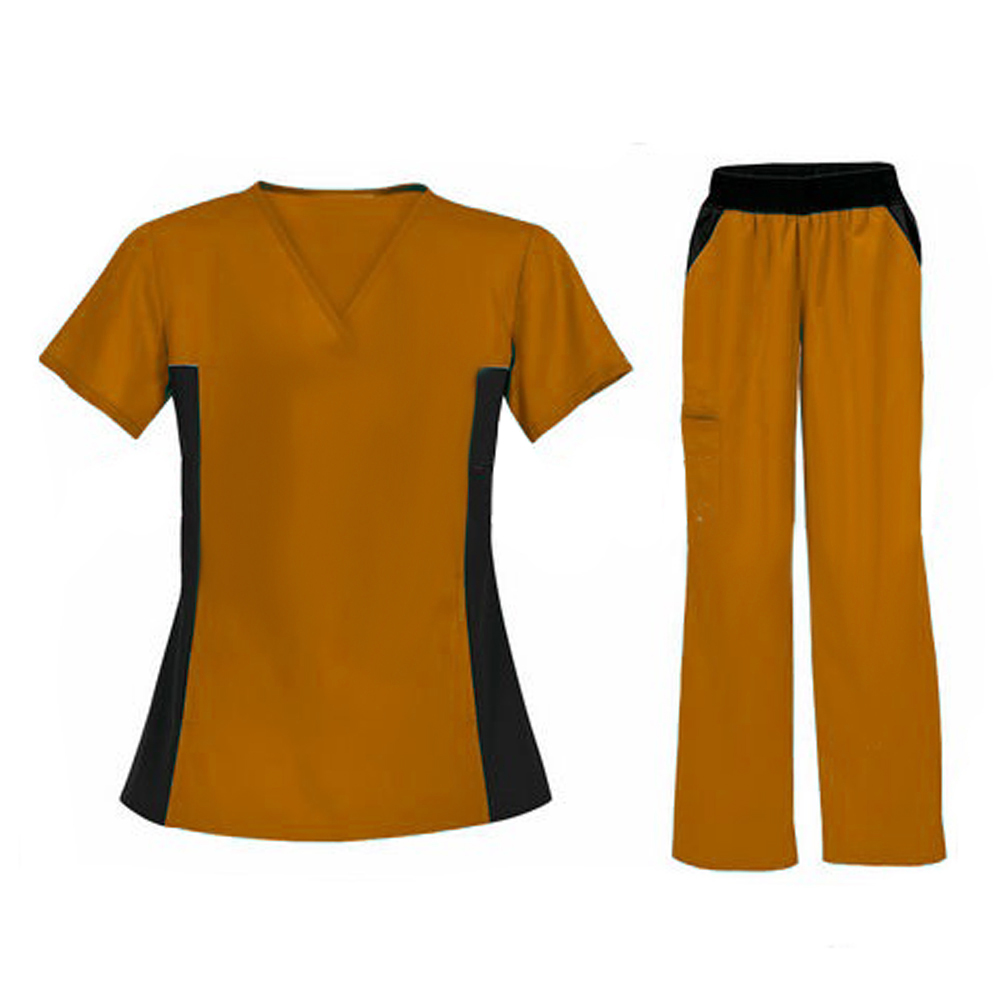 Ocher & Black Color Combination Medical Wear Scrub Suit