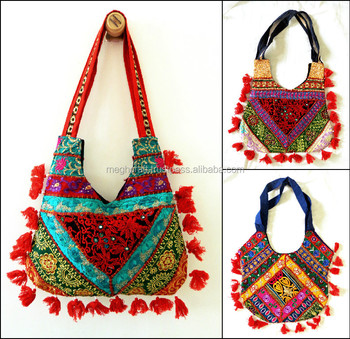 Gujarati handmade patchwork shoulder bag / Vintage Patchwork Handbag / Wholesale Banjara style shoulder bag-Kutch embroidery bag