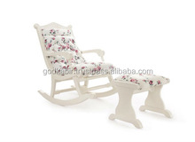 Best Home Decor Collection Shining white color rocking chair and stool upholstery with romantic pink rose fabric.