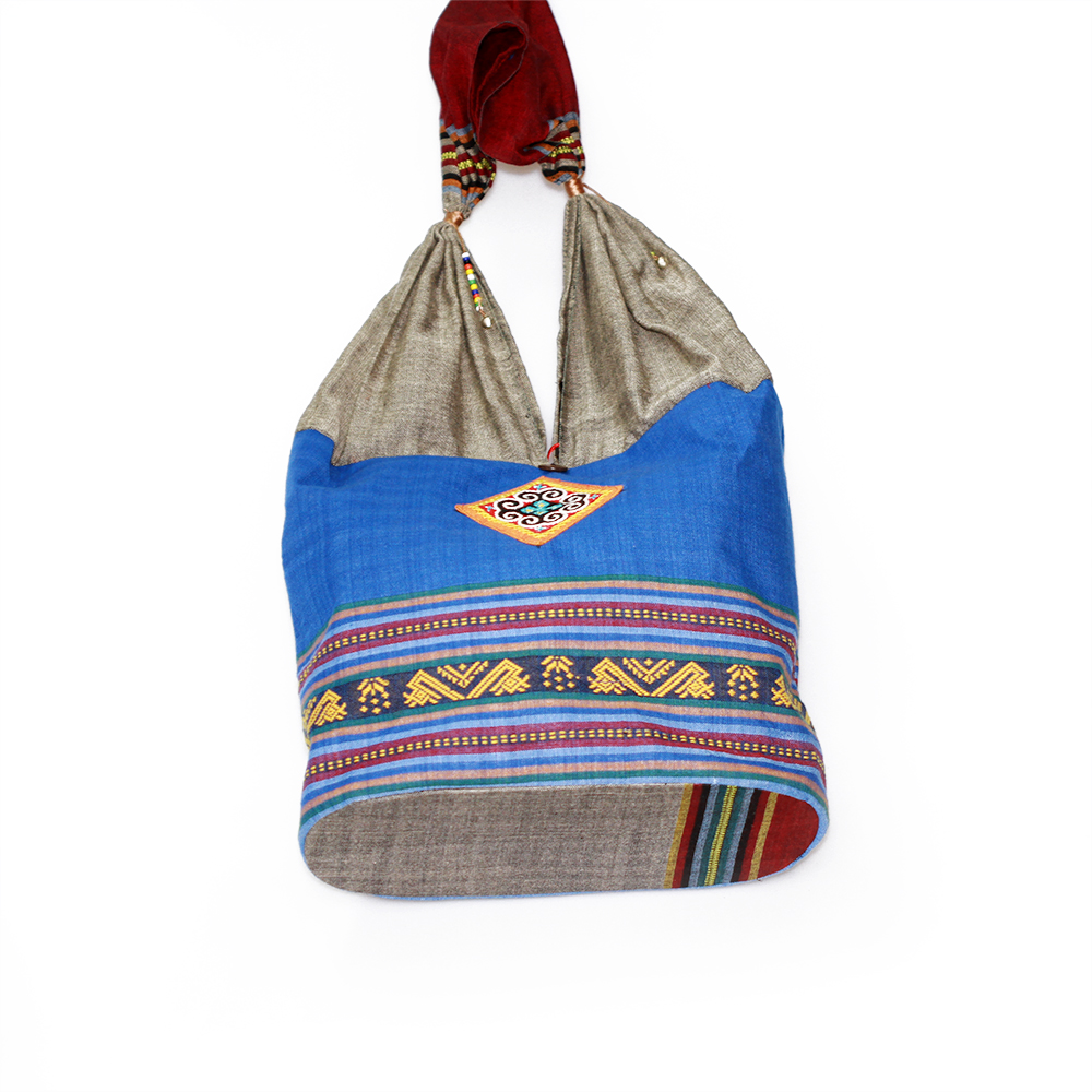 Embroidery shoulder bag, mini brocade fabric bags, ethnic handicraft souvenirs from Vietnam