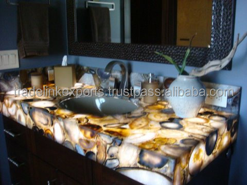 Backlit Natural Gemstone Agate Vanity Kitchen / Bathroom Counter Top