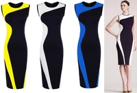 Women Geometry Design Sleeveless O-Neck Stretchy Evening Slim Dress