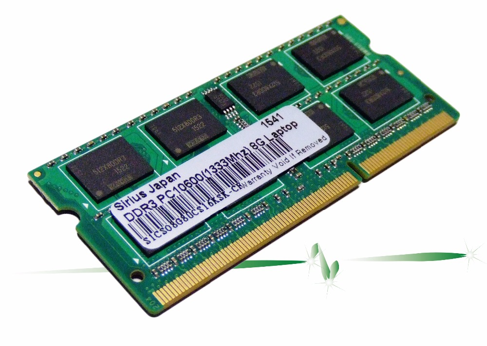 "Sirius Japan RAM Memory PC3-10600 DDR3-1333 2GB 4GB 8GB for Laptop with Original Manual ""Faster than the speed of light."""