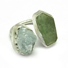 Natural Gemstone Aquamarine_Prehnite 925 Sterling Silver Jewelry Ring, Wholesale Silver Jewelry, Silver Jewelry Supplier