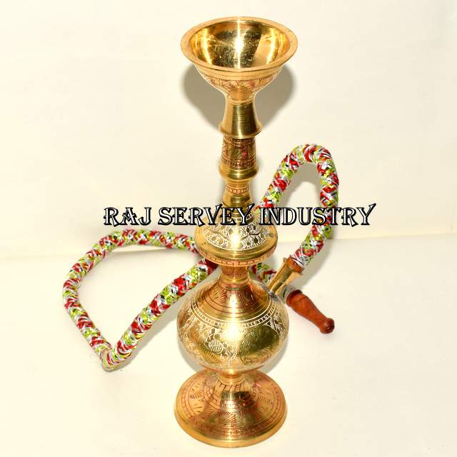 Antique Old Hand Carved Brass Indian Smoking Cigar Chilam / Hukka Pipe