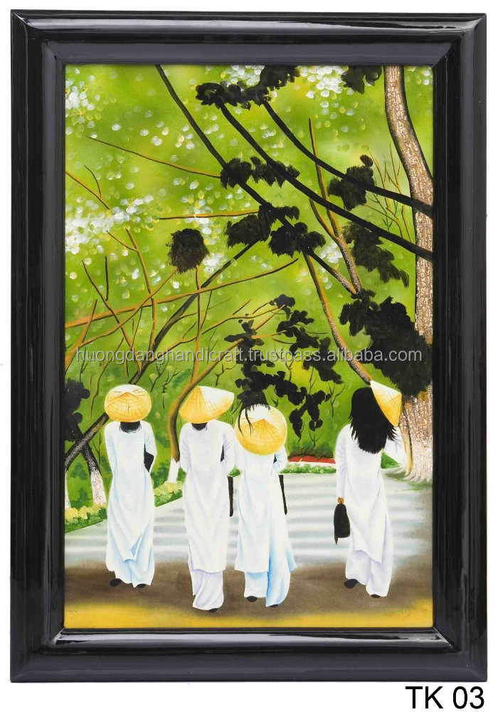 Ao Dai with Vietnamese Girl Lacquer Handmade Painting, Wall Art Lacquer Painting