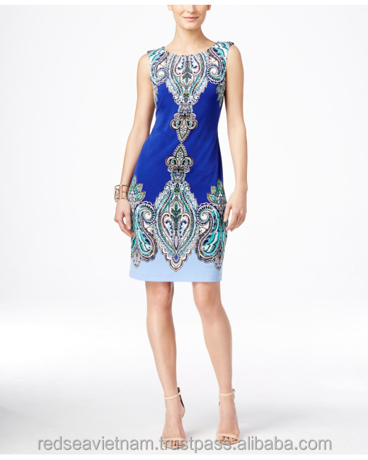 American lady fashion Back zipper closure Sleeveless Allover paisley print Sheath silhouette Lined Hits dress