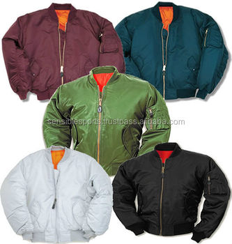 custom bomber jacket wholesale / Black Military Air Force MA-1 Olive Green Bomber jacket / Satin Bomber Jacket