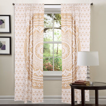 White Window Treatment Bohemian Set Indian Mandala Curtains, Indian Style Living Room Curtain