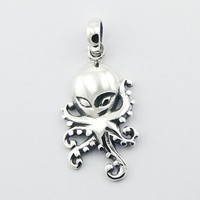 Plain Hallmarked 925 Sterling Silver Octopus SCI-FI Pendant