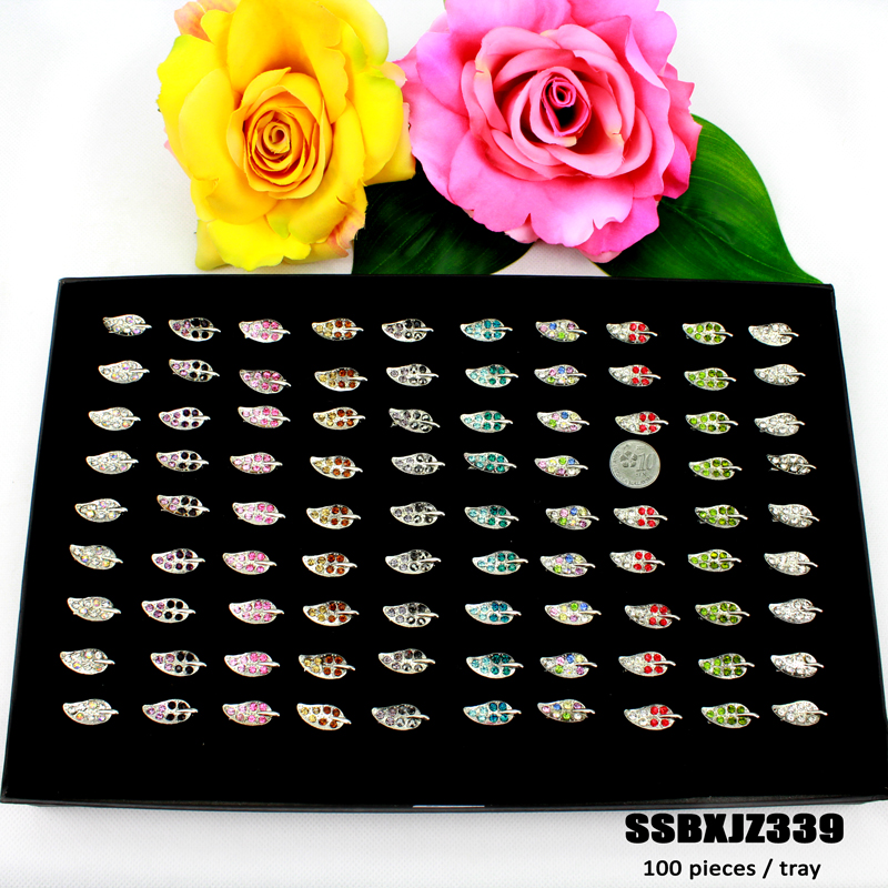 Cheap rhinestones muslim scarf, tudung brooch kerongsang leaf design wholesale
