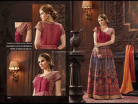 Remarkable Blue and Maroon Bhagalpuri Silk Anarkali Salwar Kameez/Online salwar kameez shopping