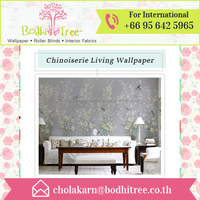Customized Light and Grey Chinoiserie Wallpaper Mural Exporters from Thailand
