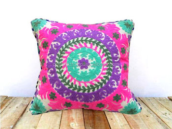 Indian Embroidry White Cushion Cover